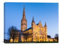 Salisbury Cathedral at night, Canvas Print