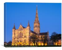 Salisbury Cathedral at twilight, Canvas Print