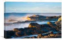 Sunlit Kilve rocks, Canvas Print