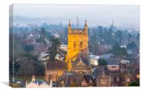 Great Malvern Priory in fog, Canvas Print