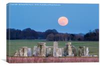 Super Blue Blood Moon is seen rising over Stonehen, Canvas Print