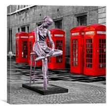 Red phone boxes & ballet statue, Canvas Print