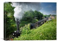Steam train leaving Alresford Station, Canvas Print