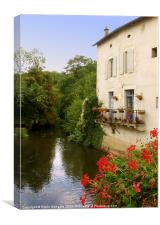 River Charente in Civray, France, Canvas Print