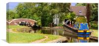 Tattenhill Lock & Traditional Narrow Boat, Canvas Print