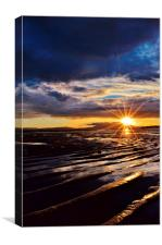 Sunset on Stevenston Beach, Canvas Print