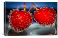Cherries and bubbles, Canvas Print