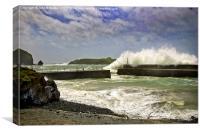 Rough Sea at Mullion Harbour, Canvas Print