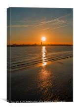 Sunset over the River Mersey Liverpool England UK, Canvas Print