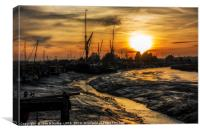 Winter Sunset over Oare Creek at Hollowshore, Canvas Print