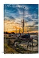 Winter Sunset at Oare Creek , Canvas Print