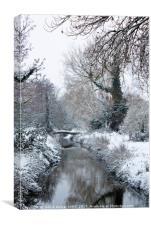 Snow Scene River Stour near Canterbury Kent Englan, Canvas Print