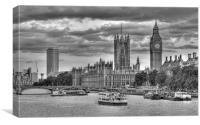 Sun Setting on Big Ben London Black and White, Canvas Print
