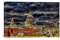 Electric St Pauls Cathedral / Millennium Bridge, Canvas Print