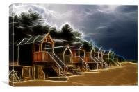 Electric Beach Huts, Canvas Print