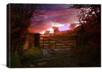 Gateway to an Autumn Sunset, Canvas Print