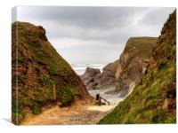 Walking down To Sandymouth Beach, Canvas Print