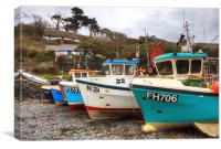 Cadgwith Fishing Boats Fleet, Canvas Print