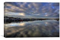 Evening sky over Bideford Quay., Canvas Print