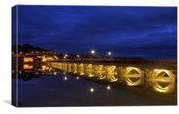 Bideford Long Bridge by Night, Canvas Print