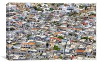 Lindos Rooftops and Streets, Canvas Print