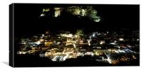 Lindos Town and Acropolis at Night, Canvas Print