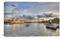 Sun Setting on the London's Millennium Wheel, Canvas Print