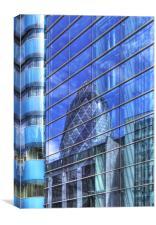 Londons Gherkin reflection, Canvas Print