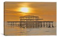 Brighton Pier Ruin (HDR), Canvas Print