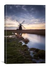 Swans at Herringfleet Windpump, Canvas Print