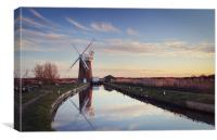 Setting Sun at Horsey Mill, Canvas Print