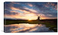 Herringfleet Windpump in Landscape, Canvas Print