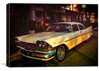 vintage car at sunset, Canvas Print