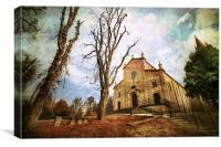 Church Levizzano in autumn, Modena Italy, Canvas Print