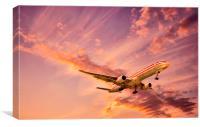 Landing at sunset, Canvas Print