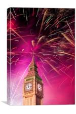 Big Ben and New Year 's fireworks, Canvas Print