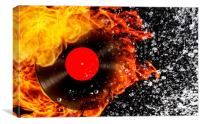 vinyl record with fire and water, Canvas Print