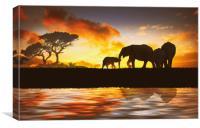 family of elephants, Canvas Print