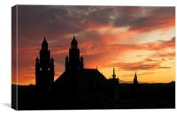 Sunset over Kelvingrove Art Gallery, Canvas Print