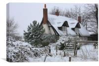 The Cottage in the Snow, Canvas Print