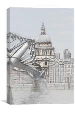 St Pauls Cathedral and Millennium Bridge , Canvas Print