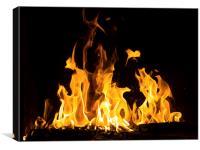 fireplace  ablaze, Canvas Print