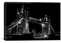 Black and White night shot of Tower Bridge, Canvas Print