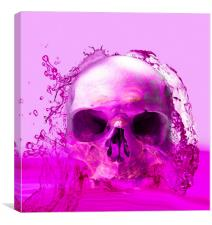 Purple Skull in Water, Canvas Print