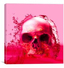 Red Skull in Water, Canvas Print