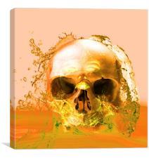 Golden Skull in Water, Canvas Print