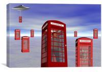 Alien London Phone Box Abduction, Canvas Print