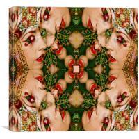 Red Lips Mandala, Canvas Print