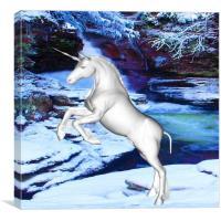 Unicorn in the Snow, Canvas Print