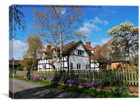 Flowers underline English Cottage, Canvas Print